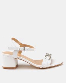 Butterfly Feet Una Block Heel Sandals White