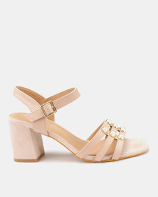 Butterfly Feet Aiyana Block Heel Sandals Nude