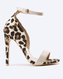 Miss Black Star Leopard Heeled Sandals Nude
