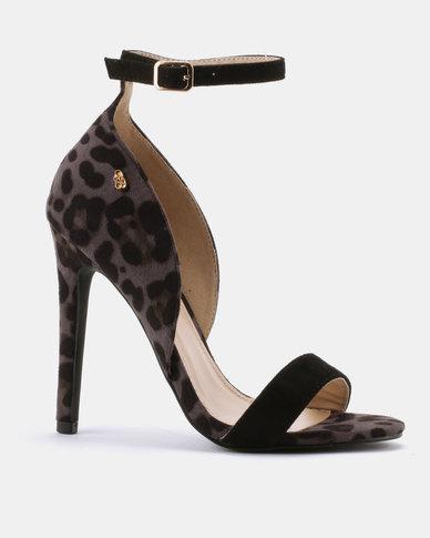 8a238841d11 Miss Black Star Leopard Heeled Sandals Black