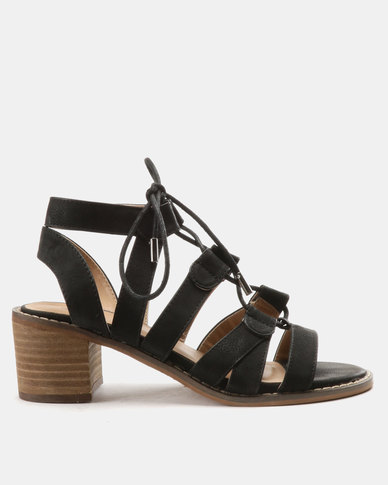 Queue Ghillie Tie On Leather Stack Heels Black