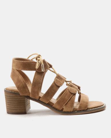 Queue Ghillie Tie On Leather Stack Heels Tan