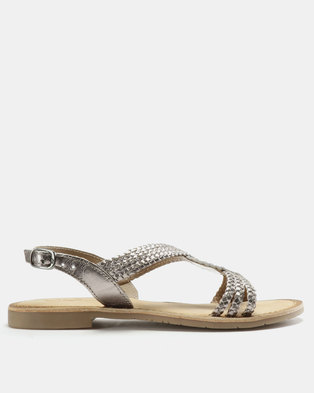 6c473def4b9f00 GIA by Queue Weave Tbar Leather Sandals Pewter