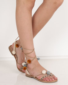 Wild Alice by Queue Leather Pom Pom Toe Post Sandals Natural