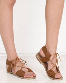 Wild Alice by Queue Ghillie Tie Leather Suede Sandals Tan
