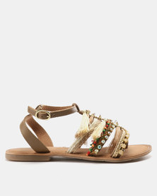Wild Alice by Queue Leather Toe Thongs with Tassel Trim Natural
