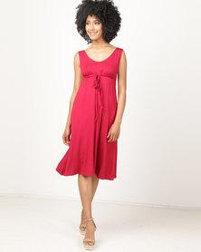 Jeep Viscose Lycra Sleeveless Dress With Belt Ruby