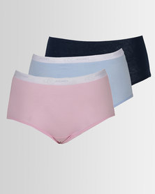 Jockey 3 Pack Plain Full Brief Panties Multi