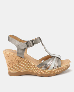 6e5723f4e79d Butterfly Feet Roxy Ankle Strap Wedges Grey