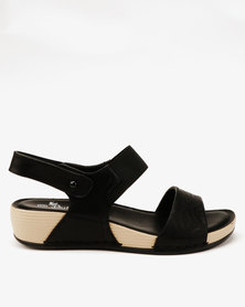 c5bed97e141 Butterfly Feet Sonia Lasered Elastic Wedge Sandals Black