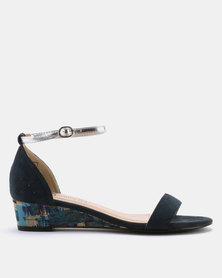 Butterfly Feet Emeli Printed Low Wedge Sandals Navy