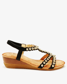 Butterfly Feet Veneta Studded Low Wedge Sandals Black