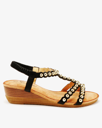 Butterfly Feet Veneta Studded Low Wedge Sandals Black