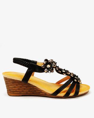 b0cb9c8f21b4 Butterfly Feet Fendi Flower Trim Wedges Black