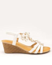 Butterfly Feet Fendi Flower Trim Wedges White