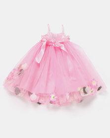 Fairy Shop Strappy Flower Tulle Bubble Hem Dress Pink