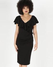 City Goddess London Frilled V Neckline Midi Dress Black
