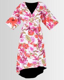 e1ef21e1f7 City Goddess London Polka Dot Palm Leaves V Neck Maxi Dress Pink