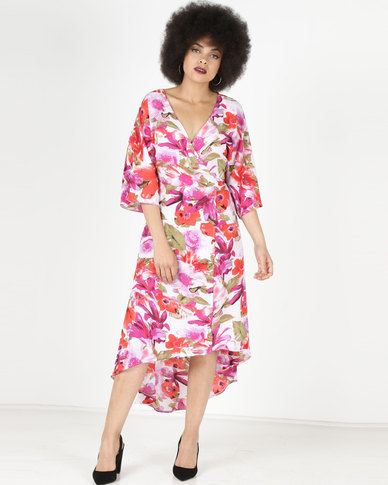 fe9de6d484c5 City Goddess London Satin Flower Print Midi Wrap Dress Multi