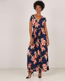City Goddess London Floral Print Wrap Maxi Dress Navy