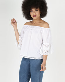 City Goddess London Off The Shoulder Top With Embroidered Bell Sleeves White