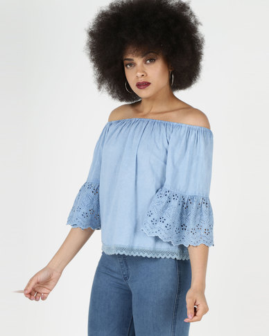City Goddess London Off The Shoulder Top With Embroidered Bell Sleeves Denim