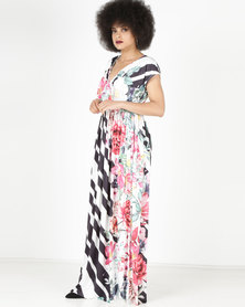 City Goddess London Floral and Stripe Print Maxi Dress Black