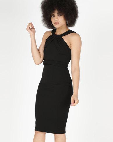 City Goddess London Pleated Neckline Midi Dress Black