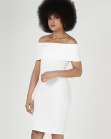 City Goddess London Off The Shoulder Midi Dress Cream