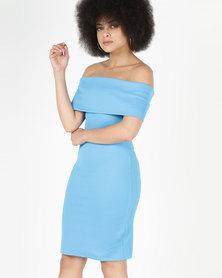 City Goddess London Off The Shoulder Midi Dress Blue
