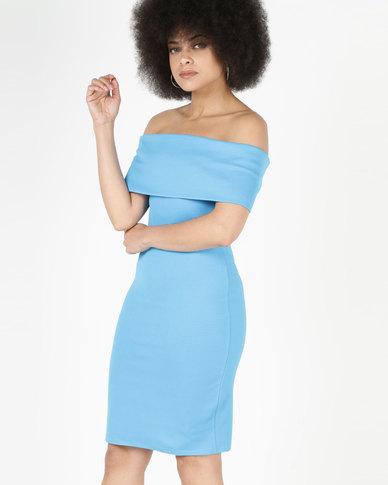 49b557896451 City Goddess London Off The Shoulder Midi Dress Blue