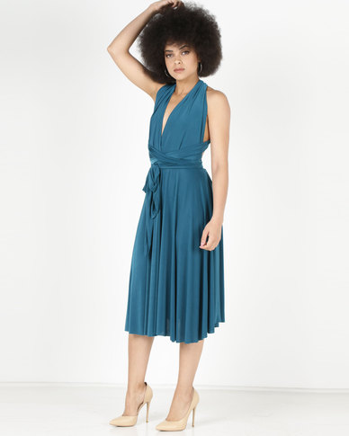 2c1f7c28ae46 City Goddess London Multiway Open Back Midi Dress Teal | Zando