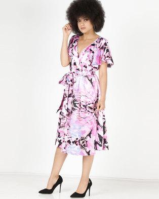 City Goddess London Satin Printed Flutter Sleeve Midi Dress with Belt Multi
