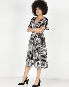 City Goddess London Satin Stripe Flutter Sleeve Midi Dress with Belt Multi