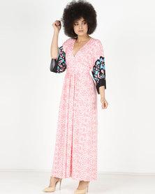 City Goddess London Kimono Sleeved Multi Print Maxi Dress Peach