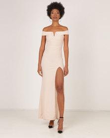 AX Paris Off The Shoulder Maxi Dress Nude