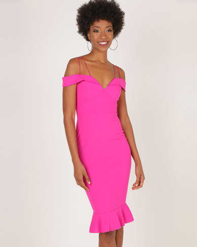 b60e4250762 AX Paris Off The Shoulder Fishtail Dress Cerise
