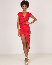 AX Paris Floral Wrap Dress Red