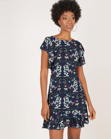 AX Paris Floral Frill Sleeve Dress Navy