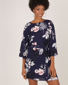 AX Paris Flared Sleeved Floral Shift Dress Navy