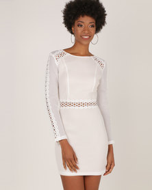 AX Paris Mesh Sleeves With Crochet Detailing Mini Dress Cream