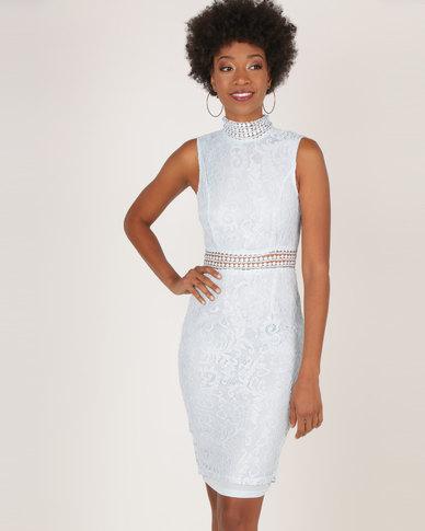AX Paris Lace Midi Dress Ice Blue