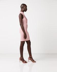 AX Paris Crochet Detail High Neck Midi Dress Blush