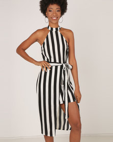 AX Paris Black And White High Neck Striped Dress Multi