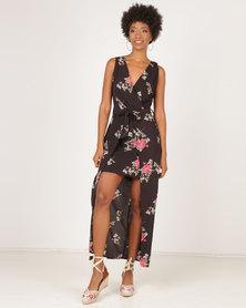 AX Paris Floral V-Neck Wrap Skirt Dress Black