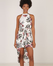 AX Paris Floral Wrap Over Skirt Dress  Cream