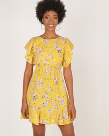 AX Paris Floral Frill Detail Mini Dress Yellow