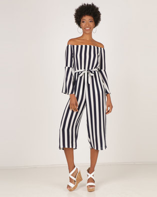 ed050361c92e2 AX Paris Striped Off The Shoulder Jumpsuit Navy