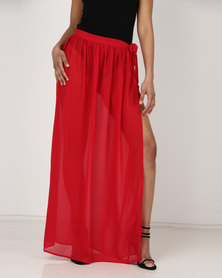 London Hub Fashion Beach Chiffon Wrap Sarong Skirt Red