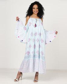 London Hub Fashion Beach Maxi Dress With Tassels Blue